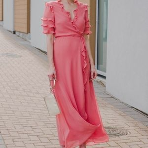 NEW WAYF CORAL Ruffled Chiffon WRAP MAXI DRESS 😍